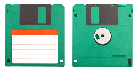 Both sides of a floppy disk isolated on white Stock Photo - 9378697