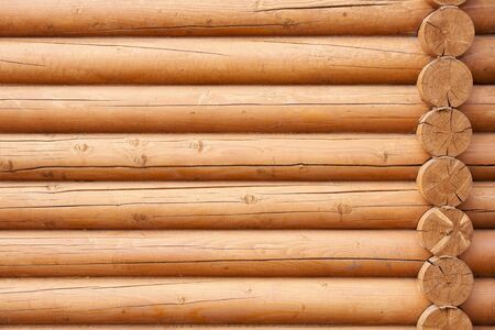 Natural background pattern of a log wall  Stock Photo