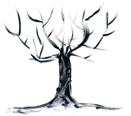 hand brushed: Abstract hand painted tree isolated on white