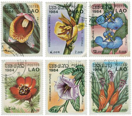 philatelic: Lao - Circa 1984: a set of six stamps printed in Lao illustrating species of plants Stock Photo