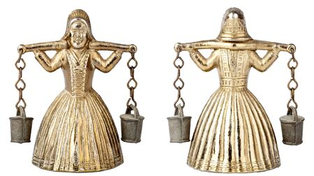 Front an back view of vintage brass bell shape of a woman with a yoke Stock Photo