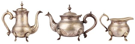 Set of antique teapots on white background Stock Photo - 9735572
