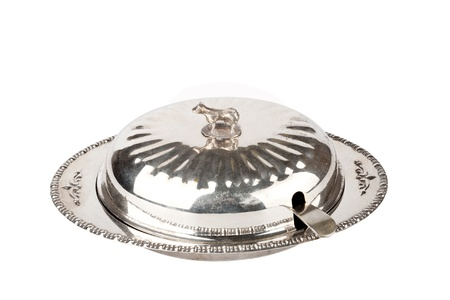 silver plated: Silver plated vintage butterdish on a white background  Stock Photo