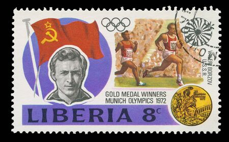 Liberia - CIRCA 1972: A post stamp printed in Liberia shows soviet runner, who won thw gold in Munich olympics, circa 1972