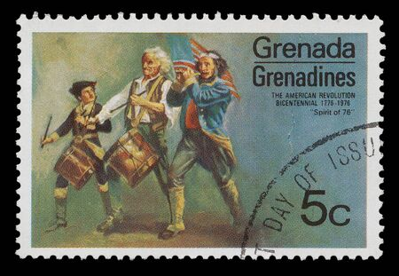 Grenada- CIRCA 1976: A post stamp printed in Grenada shows a painting of grenadines, circa 1976 photo