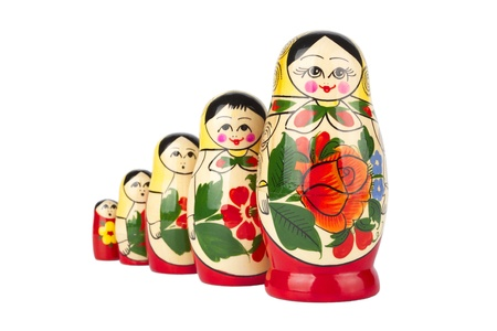 russian nesting dolls:  Russian nesting doll on white background.