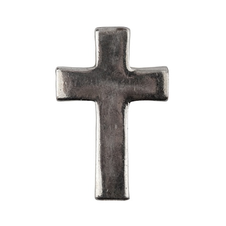 Old grungy metal cross isolated on white photo