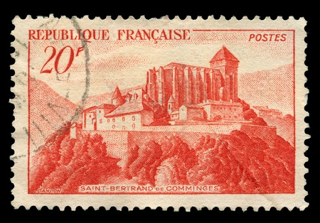 France - 1949: A stamp printed in France shows image of Saint-Bertrand-de-Comminges by Pierre Gandon, series, 1949  photo