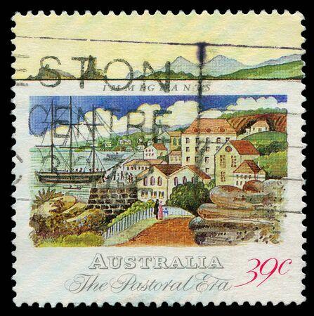 immigrants: Australia CIRCA 1989: A post stamp printed in Australia shows immigrants in the Pastoral era, circa 1989