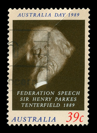 AUSTRALIA - CIRCA 1989, a post stamp printed in Australia shows Sir Henry Parkes Tenterfield, circa 1989