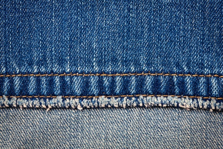 Worn blue denim jeans texture with stitch and reverse side  Foto de archivo