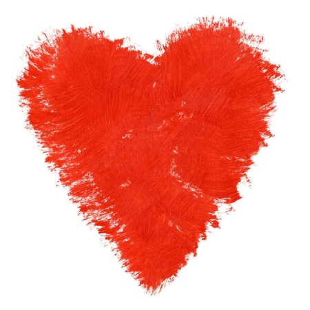 Acrylic hand painted heart symbol isolated on white photo