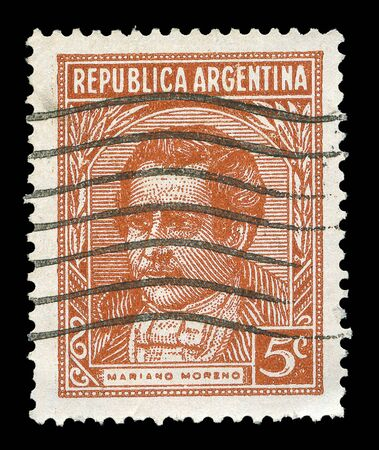 mariano: ARGENTINA - CIRCA 1965: A stamp printed in Argentina shows Mariano Moreno, circa 1965  Stock Photo