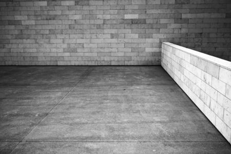 Tiled wall with a blank white bricks, black and white image photo