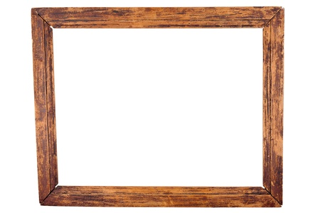 Old wooden frame isolated on white photo