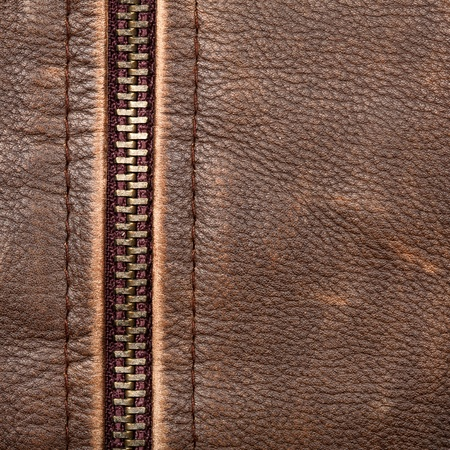 Brown leather texture and zipper background Stock Photo - 12046079