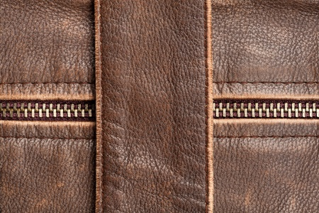 Brown leather texture and zipper background Imagens - 12177854