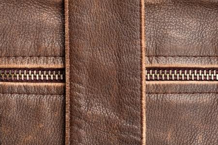chaqueta de cuero: Brown textura de cuero y la cremallera de fondo
