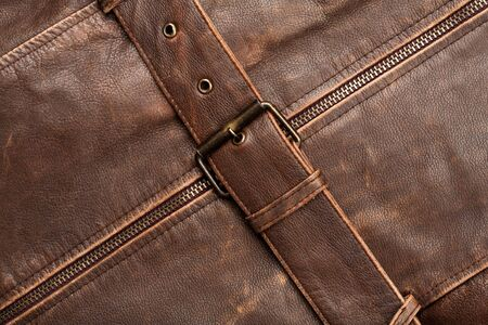 Closeup of a leather texture with a belt and zipper Stock Photo - 12177852
