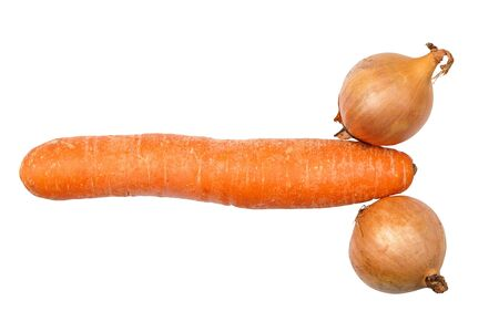 phallus: Carrot and onions isolated on white  Stock Photo