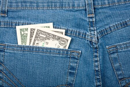 American dollars in jeans back pocket   photo
