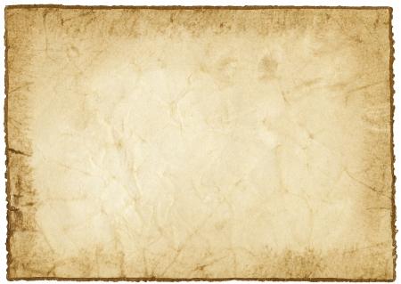 Papel hecho a mano con borde de oro aislado en blanco