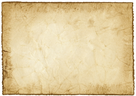 Handmade paper with golden edge isolated on white
