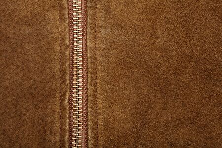 suede belt: Brown suede texture and zipper background   Stock Photo
