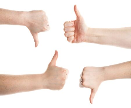 Approving and not encouraging hands gestures, on a white background  Stock Photo - 12509603
