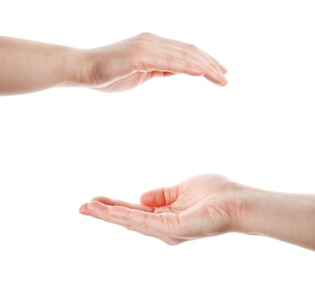 Two cupped hands isolated on white background Stock Photo - 12509651