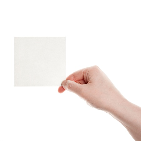 Paper in woman hand isolated on white background  Stock Photo - 12509629