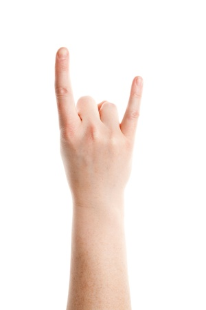 Rock and Roll gesture of female hand isolated on white background  photo