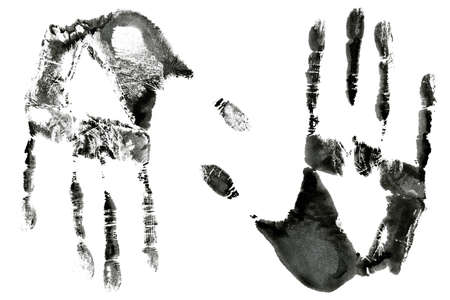 Black print of two hands isolated on a white background photo