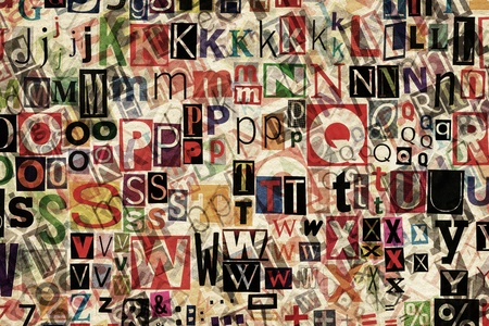 Abstract designed background of newspaper letters clippings  photo