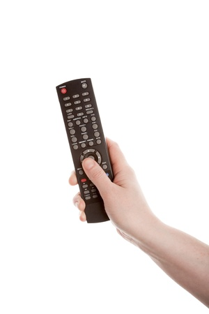 Television remote control in the hand isolated on white background