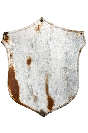 Rusty painted metal plate isolated on white photo