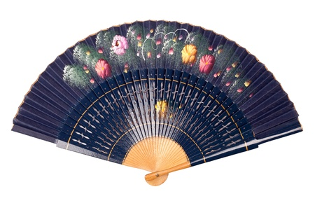 Painted hand fan with flowers isolated on white photo