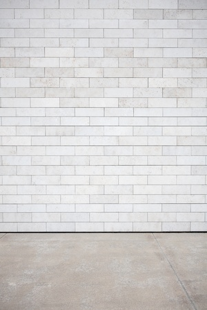 Tiled wall with a blank white bricks Imagens - 12842727