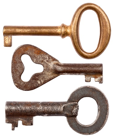 Old rusty keys isolated on white background photo