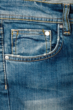 Blue jeans fabric with pocket background Foto de archivo