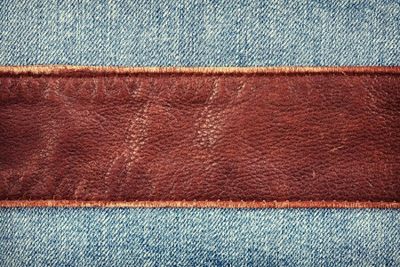 Jeans and leather textures background Imagens - 13245401