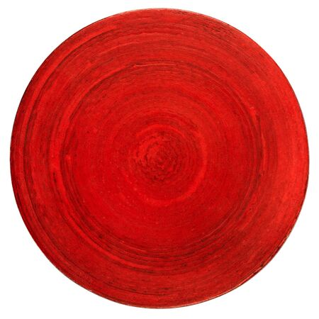Red wooden table coaster isolated on white photo