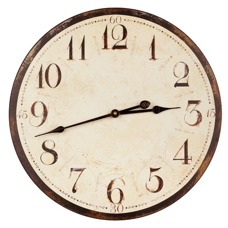 Old antique wall clock isolated on white Imagens