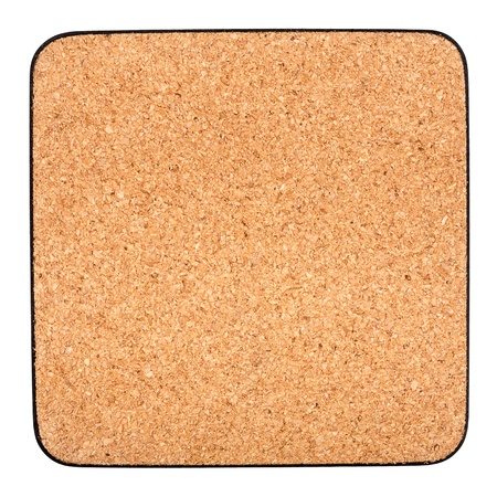 Cork table coaster with black border isolated on white photo