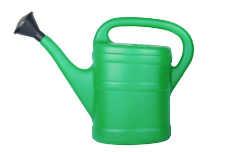 Green watering can isolated on white background  版權商用圖片