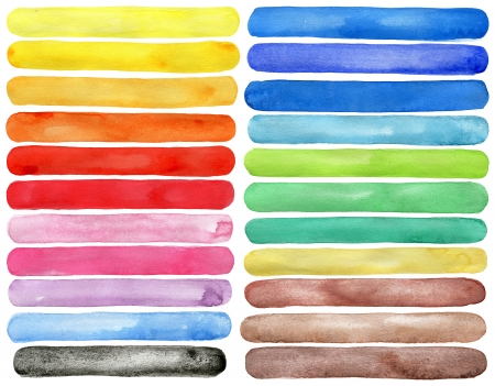 Set of watercolor hand painted brush strokes isolated on white Made myself.   Stock Photo