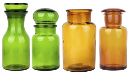 set of four empty glass jars isolated on white background Imagens - 13748206