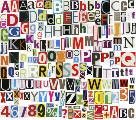 Big size newspaper, magazine alphabet with letters, numbers and symbols. Isolated on white background.  photo