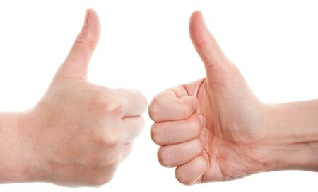 Approving  hands gestures, on a white background Stock Photo - 13830117