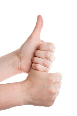 Female hands doing double thumbs up on a white background Stock Photo - 13908812